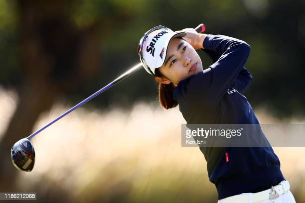Yuka Yasuda hits her tee shot on the 6th hole during the final round of the LPGA Final Pro Test at the JFE Setonaikai Golf Club on November 8 2019 in...