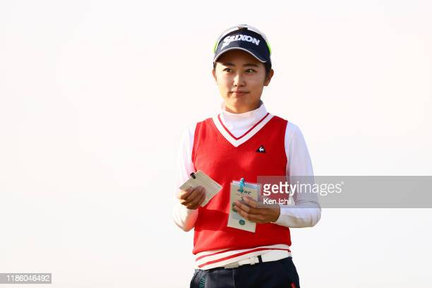 Yuka Yasuda is seen after holing out on the 18th green during the third round of the LPGA Final Pro Test at the JFE Setonaikai Golf Club on November...