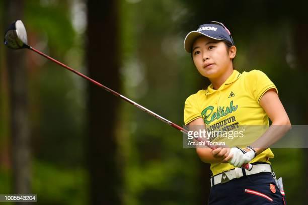 Yuka Yasuda of Japan hits her tee shot on the 3rd hole during the first round of the Daito Kentaku Ehayanet Ladies at the Narusawa Golf Club on July...