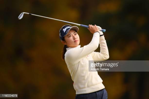 Yuka Yasuda of Japan hits her third shot on the 8th hole during the final round of the Japanese LPGA Final Qualifying Tournament at Kodama Golf Club...