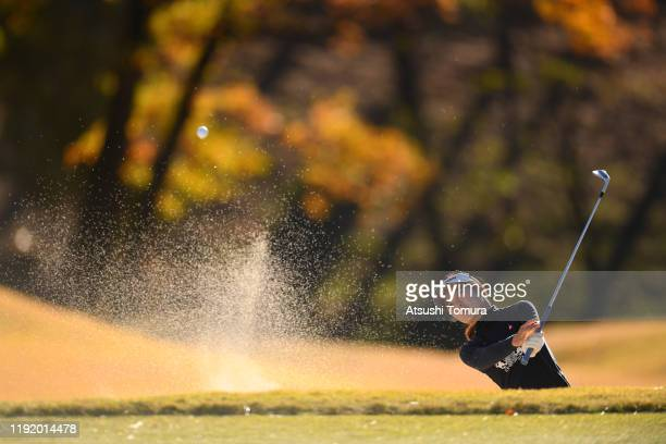 Yuka Yasuda of Japan hits out from a bunker on the 11th hole during the third round of the Japanese LPGA Final Qualifying Tournament at Kodama Golf...