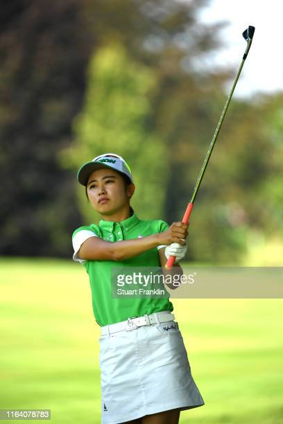 Yuka Yasuda of Japan on the first during day 1 of the Evian Championship at Evian Resort Golf Club on July 25 2019 in EvianlesBains France