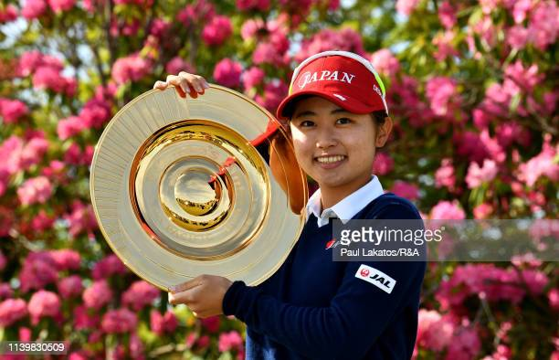 Yuka Yasuda of Japan pictured with the winner's trophy during day 4 of the Women's Amateur AsiaPacific Championship at The Royal Golf Club on April...
