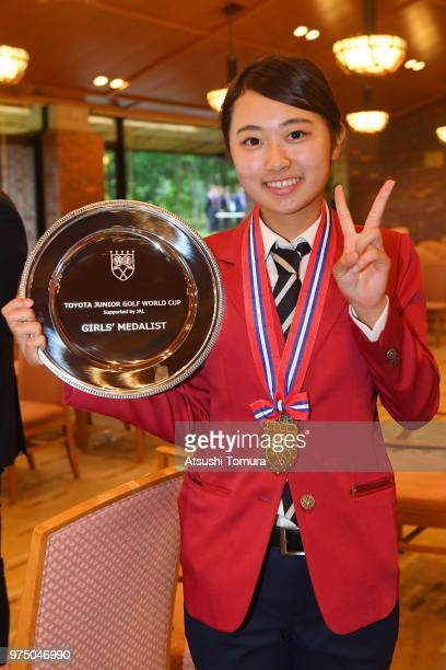 Yuka Yasuda of Japan poses with her gold medal after winning the Toyota Junior Golf World Cup at Chukyo Golf Club on June 15 2018 in Toyota Aichi...