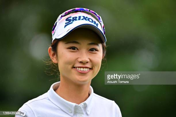 Yuka Yasuda of Japan smiles on the 4th hole during the third round of the Nitori Ladies Golf Tournament at the Otaru Country Club on August 29 2020...