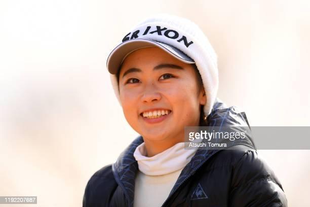 Yuka Yasuda of Japann smiles on the 1st hole during the final round of the Japanese LPGA Final Qualifying Tournament at Kodama Golf Club on December...