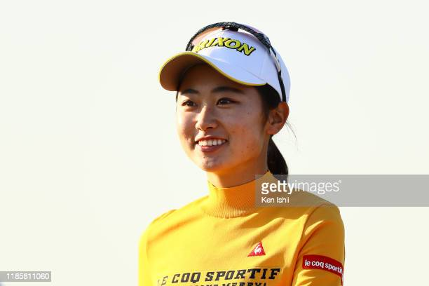 Yuka Yasuda smiles after holing out on the 18th green during the second round of the LPGA Final Pro Test at the JFE Setonaikai Golf Club on November...
