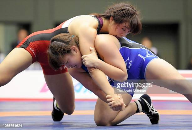 Yukako Kawai and Yuzuru Kumano compete in the Women's 62kg final on day two of the Emperor's Cup All Japan Wrestling Championships at Komazawa...