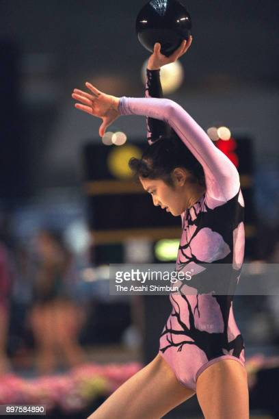 Yukari Kawamoto competes in the ball during the Rhythmic Gymnastics Barcelona Olympics second qualifier at Yoyogi Gymnasium on April 26 1992 in Tokyo...