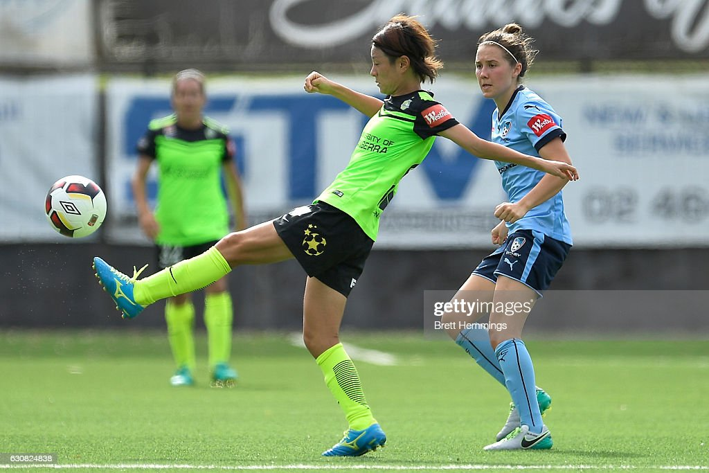 Yukari Kinga of Canberra controls the ball during the round 10 W-League match between Sydney and Canberra at Lambert Park on January 3, 2017 in Sydney, Australia.