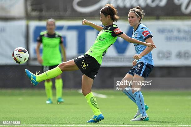 Yukari Kinga of Canberra controls the ball during the round 10 WLeague match between Sydney and Canberra at Lambert Park on January 3 2017 in Sydney...