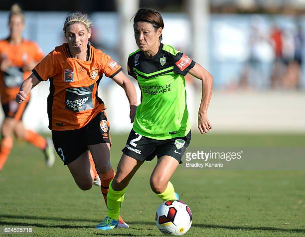 Yukari Kinga of Canberra in action during the round three WLeague match between the Brisbane Roar and Canberra United at AJ Kelly Field on November...