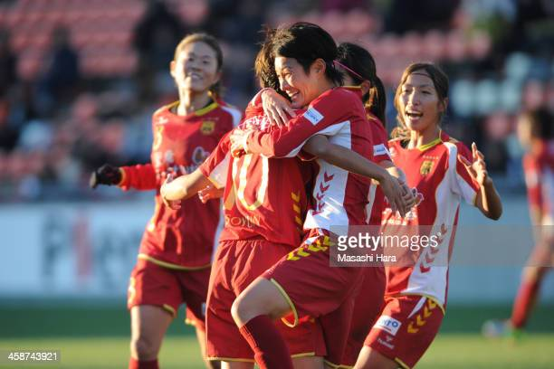 Yukari Kinga of INAC Kobe Leonessa celebrates the third goal during the 35th Empress Cup All Japan Women's Football Championship semifinal match...