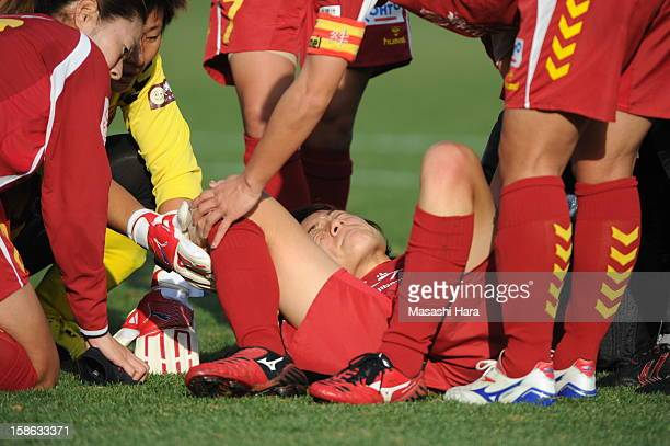 Yukari Kinga of INAC Kobe Leonessa looks injured during the 34th Empress's Cup All Japan Women's Football Tournament semi final match between INAC...