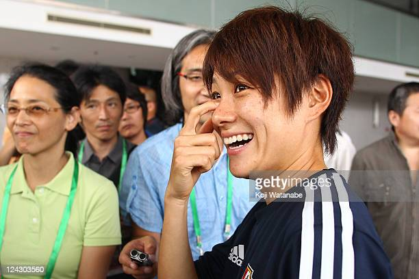 Yukari Kinga of Japan attends a press conference after securing a berth for the London 2012 Olympics at a convention center on September 9 2011 in...