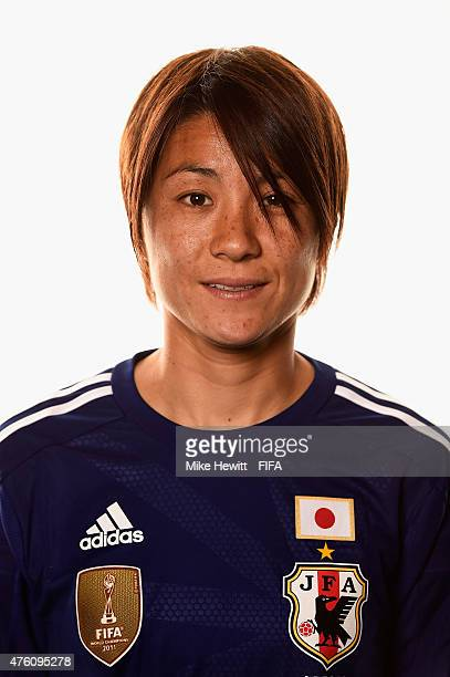 Yukari Kinga of Japan poses for a portrait during the official Japan portrait session ahead of the FIFA Women's World Cup 2015 at the Sheraton Wall...