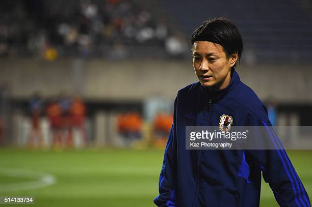 Yukari Kinga of Japan warms up prior to the AFC Women's Olympic Final Qualification Round match between Vietnam and Japan at Kincho Stadium on March...