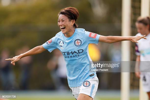 Yukari Kinga of Melbourne City celebrates a goal during the round ten WLeague match between Melbourne City and Perth Glory at City Football Academy...