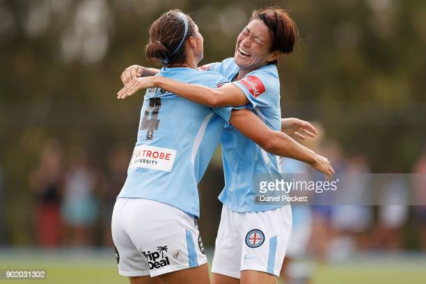 Yukari Kinga of Melbourne City celebrates a goal with Ashley Hatch of Melbourne City during the round ten WLeague match between Melbourne City and...