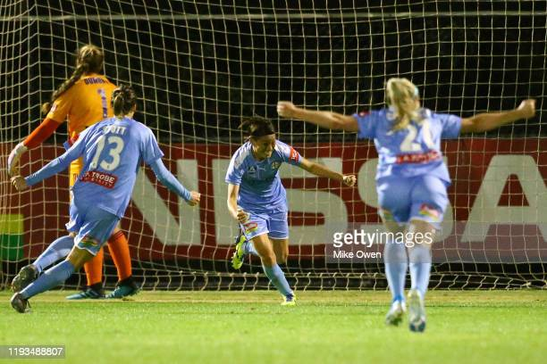 Yukari Kinga of Melbourne City celebrates after scoring during the round five WLeague match between Melbourne City and Melbourne Victory at ABD...