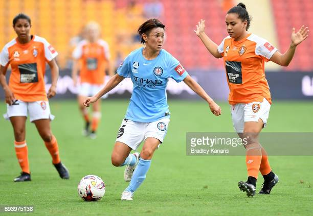 Yukari Kinga of Melbourne City in action during the round eight WLeague match between the Brisbane Roar and Melbourne City at Suncorp Stadium on...