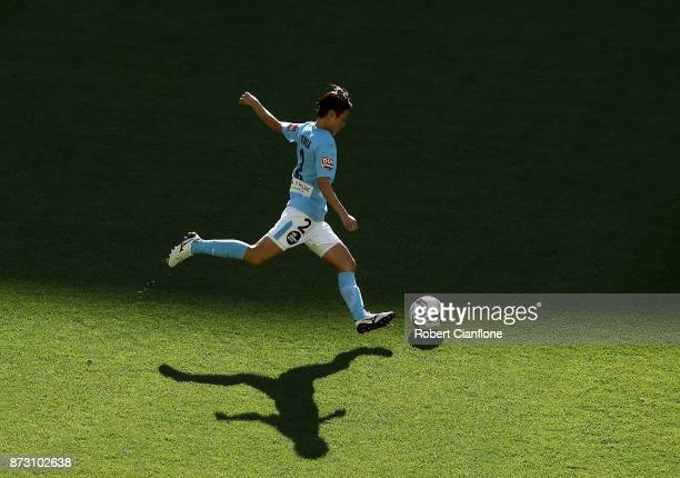 Yukari Kinga of Melbourne City kicks the ball during the round three W-League match between Melbourne City and the Newcastle Jets at AAMI Park on...