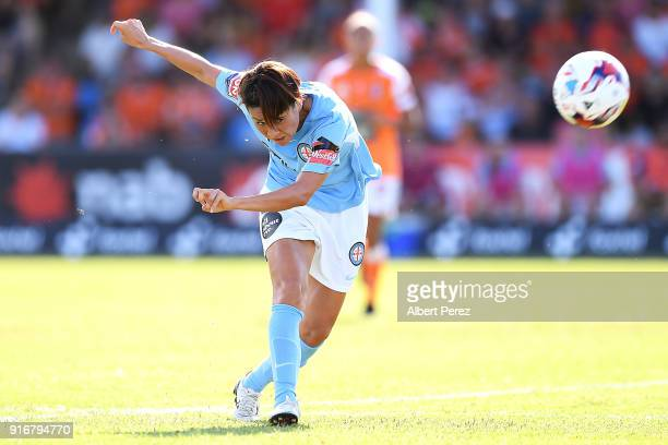 Yukari Kinga of Melbourne City kicks the ball during the WLeague Semi Final match between the Brisbane Roar and Melbourne City at Perry Park on...