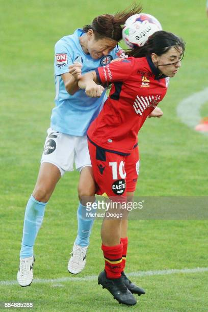 Yukari Kinga of the City and Alex Chidiac of United compete for the ball during the round six WLeague match between Melbourne City and Adelaide...