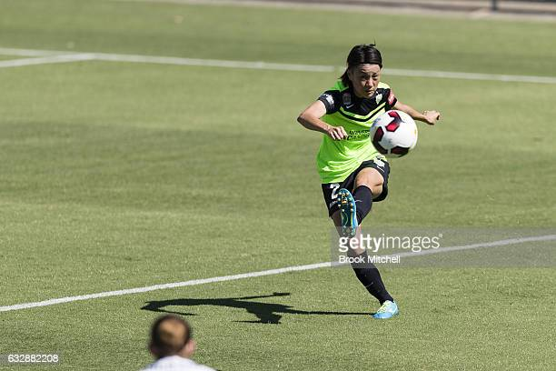 Yukari Kinga passes the ball during the round 14 WLeague match between Canberra United and Melbourne Victory at McKellar Park on January 28 2017 in...