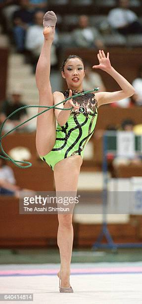 Yukari Murata competes in the rope during the Rhythmic Gymnastics World Championships Japan National Qualifier at Yoyogi National Gymnasium on May 30...