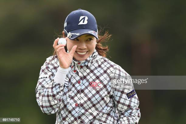 Yukari Nishiyama of Japan celebrates on the 18th green during the first round of the Yonex Ladies Golf Tournament 2016 at the Yonex Country Club on...
