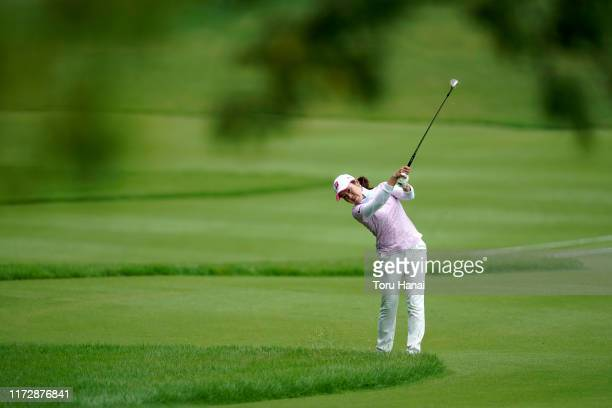 Yukari Nishiyama of Japan hits her second shot on the 13th hole during the second round of the Golf5 Ladies Tournament at Golf5 Country Sunny Field...