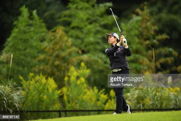 Yukari Nishiyama of Japan hits her second shot on the 15th hole during the first round of Stanley Ladies Golf Tournament at the Tomei Country Club on...