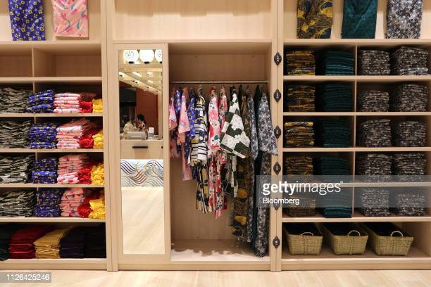 Yukatas are placed in a reception area at the Solaniwa Onsen spa at Osaka Bay Tower during a media tour in Osaka, Japan, on Thursday, Feb. 21, 2019....
