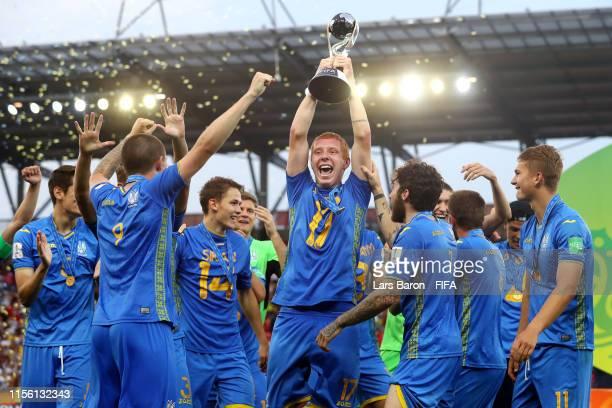 Yukhym Konoplia of Ukraine celebrates with the FIFA U-20 World Cup Trophy following his team's victory in the 2019 FIFA U-20 World Cup Final between...