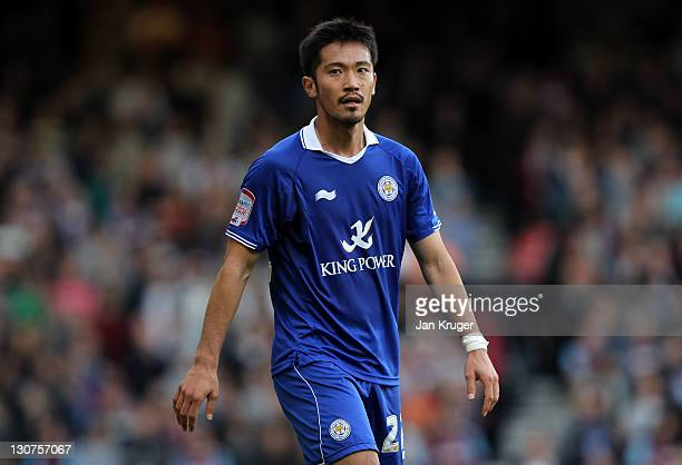 Yuki Abe of Leicester during the npower Championship match between West Ham United and Leicester City at The Boleyn Ground on October 29 2011 in...