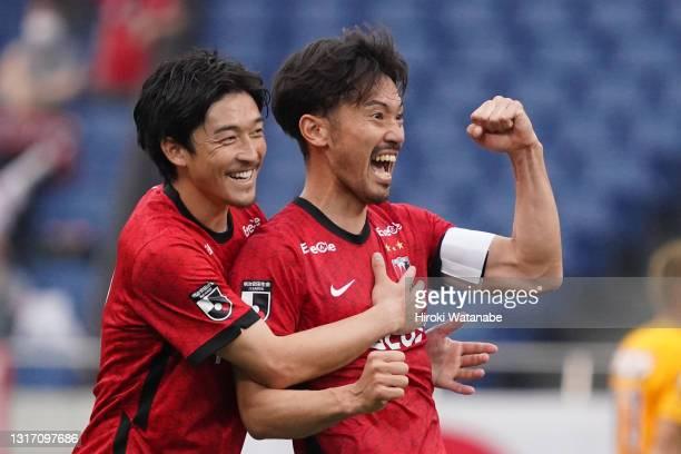 Yuki Abe of Urawa Red Diamonds celebrates scoring his team's scond goal during the J.League Meiji Yasuda J1 match between Urawa Red Diamonds and...