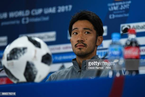 Yuki Abe of Urawa Red Diamonds faces the media during a press conference ahead of their FIFA Club World Cup UAE 2017 match against Al Jazira at the...