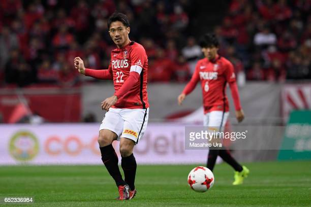 Yuki Abe of Urawa Red Diamonds in aciton during the JLeague J1 match between Urawa Red Diamonds and Ventforet Kofu at Saitama Stadium on March 10...