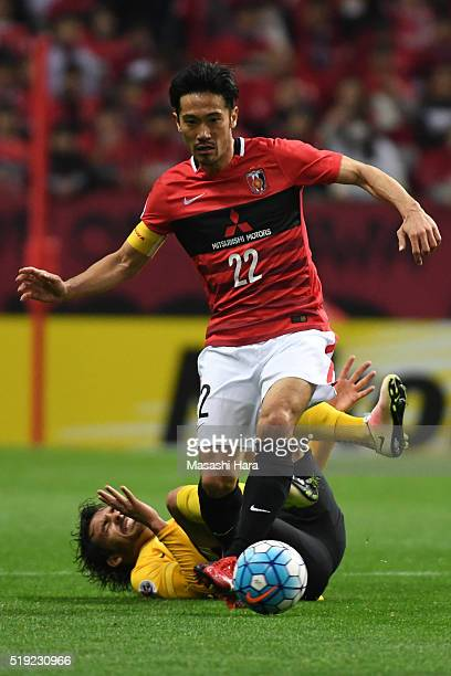 Yuki Abe of Urawa Red Diamonds in action during the AFC Champions League Group H match between Urawa Red Diamonds and Guangzhou Evergrande at the...
