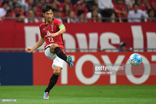 Yuki Abe of Urawa Red Diamonds in action during the AFC Champions League Round of 16 match between Urawa Red Diamonds and Jeju United FC at Saitama...