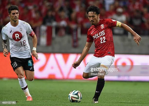 Yuki Abe of Urawa Red Diamonds in action during the J League match between Urawa Red Diamonds and Vissel Kobe at Saitama Stadium on August 2 2014 in...