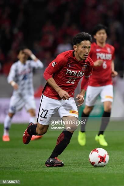 Yuki Abe of Urawa Red Diamonds in action during the JLeague J1 match between Urawa Red Diamonds and Ventforet Kofu at Saitama Stadium on March 10...