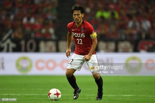 Yuki Abe of Urawa Red Diamonds in action during the JLeague J1 match between Urawa Red Diamonds and Omiya Ardija at Saitama Stadium on August 5 2017...
