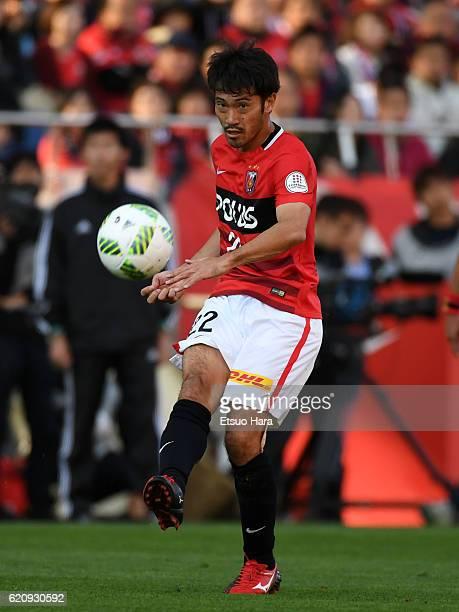 Yuki Abe of Urawa Red Diamonds in action during the JLeague match between Urawa Red Diamonds and Yokohama FMarinos at Saitama Stadium on November 3...