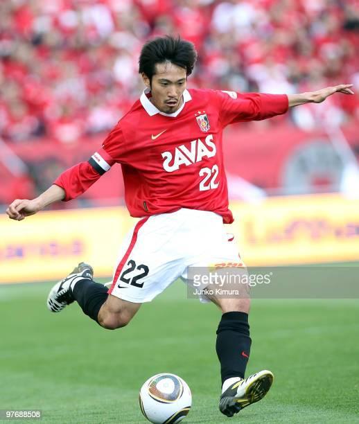 Yuki Abe of Urawa Red Diamonds in action during the J.League match between Urawa Red Diamonds and Tokyo F.C. At Saitama Stadium on March 14, 2010 in...