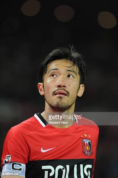 Yuki Abe of Urawa Red Diamonds looks on during the JLeague match between Urawa Red Diamonds and Ventforet Kofu at the Saitama Stadium on April 1 2016...