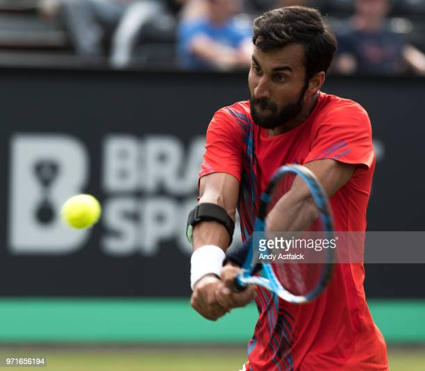 Yuki Bhambri from India in action during Day One of the Libema Open 2018 on June 11, 2018 in Rosmalen, Netherlands.
