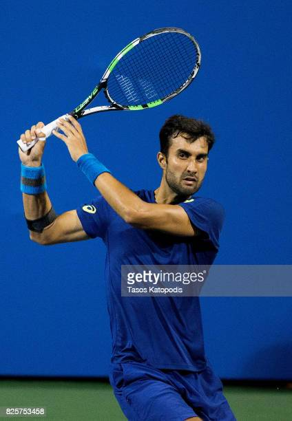 Yuki Bhambri of India competes with Gael Monfiles of France at William H.G. FitzGerald Tennis Center on August 2, 2017 in Washington, DC.