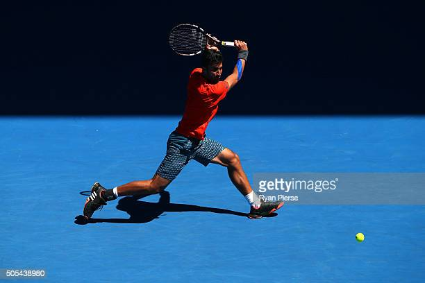Yuki Bhambri of India plays a backhand in his first round match against Tomas Berdych of the Czech Republic during day one of the 2016 Australian...